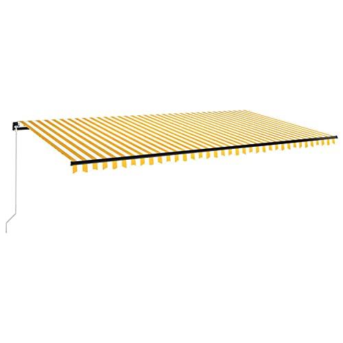 Tidyard Toldo Retráctil Manual Toldos para Ventanas Toldo Balcón Patio Terraza Parasol de Porche Jardín Sombra Exterior Amarillo y Blanco 600 x 350 cm