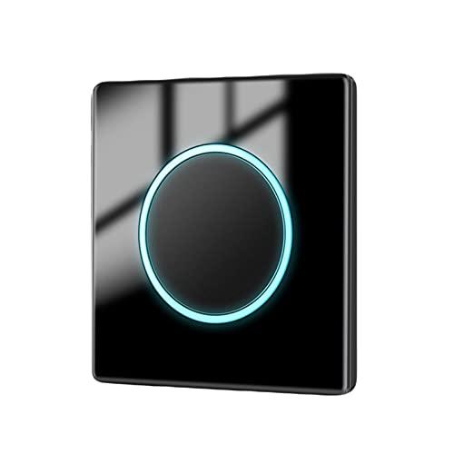 SYunxiang Interruptor de luz Interruptor de un Solo botón Negro, Panel de Vidrio Templado con indicador LED 1-4Gang 2-3Way