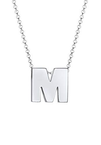 Elli Collares Letra M de las Damas Iniciales Mínimo en Plata Esterlina 925