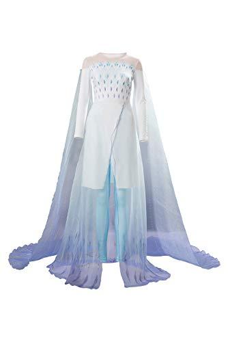Linen Family Prinzessin ELSA Kleid Cosplay Kostüm Damen Glanz Kleid-- ELSA Cave Königin weißes Kleid Cosplay Kostüm Damen