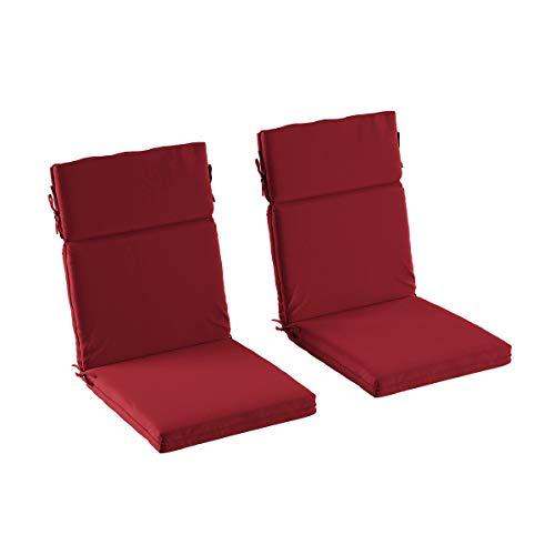 Lavish Home 580621MTA Patio Chair Cushion, Red 2-Pack