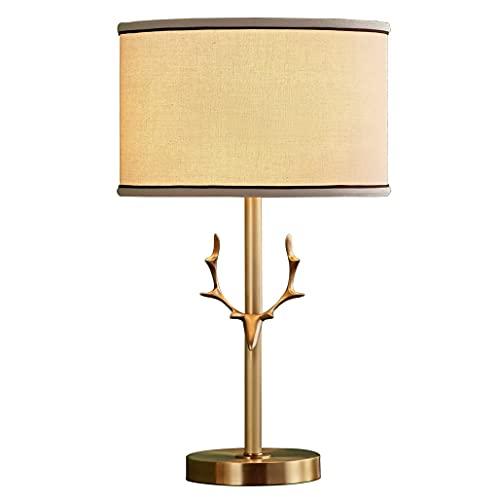 Lámpara de Mesa Lámpara de mesa de la lámpara de la lámpara de la mesa de asta de cobre puro americano, que se usa for estudiar y sala de estar for la lámpara de escritorio de decoración Lámpara Mesil