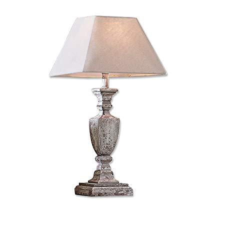 Loberon Lampe à poser Gorham - pin, coton, lin - H/D env. 58.5/14 cm -  marron-gris