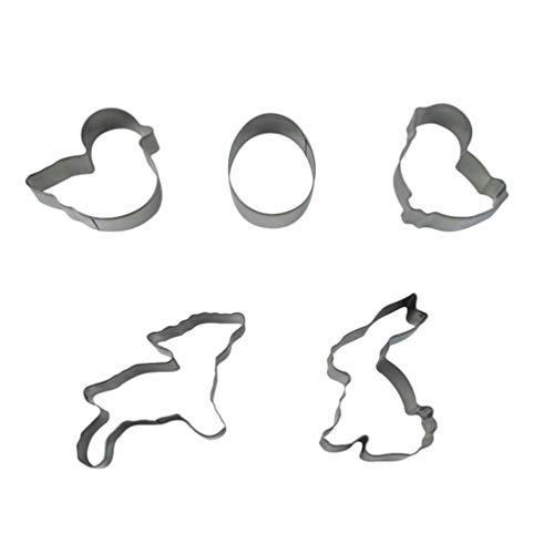 VALICLUD 5 Unids Cortadores de Galletas de Animales de Pascua Encantador Huevo de Conejo Cortadores de Galletas de Metal Formas Pan Fondant Cake Mold para La Fiesta de Pascua Diy