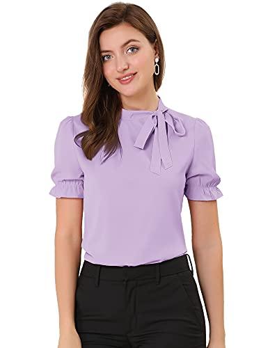 Allegra K Women's Bow Tie Neck Tops Elegant Office Short Sleeve Blouse Medium Purple