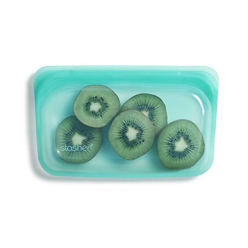 Stasher Platinum Silicone Food Grade Reusable Storage Bag,Aqua (Snack) | Reduce Single-Use Plastic | Cook, Store, Sous Vide, or Freeze | Leakproof, Dishwasher-Safe, Eco-friendly |12 Oz