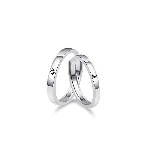 925 Sterling Silver Resizable Couple Rings Sun for Morning Moon for Night Love Matching Promise Ring for Lover Men Women Adjustable Rings