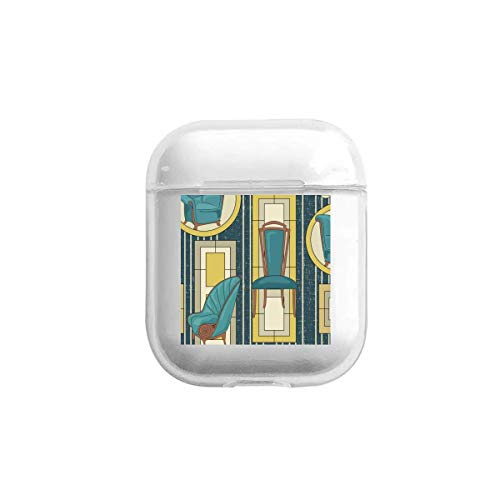 Kabellose Kopfhörer-Schutzhülle, kompatibel mit AirPods, Art-Deco-Panels und Stühlen, blaugrün, stoßfest, weiche TPU-Hülle für Mädchen, Damen, Herren