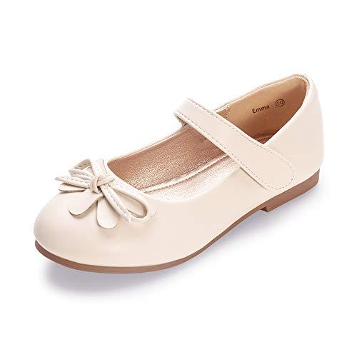 HEHAINOM Girls Toddler Little Kid Emma Dress Ballet Flats Bowknot Ballerina Mary Jane School Wedding Party Flat Shoes (Beige Pu, 3 M US Little Kid)