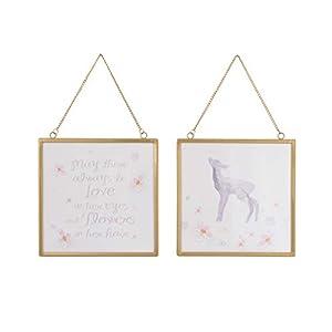 NoJo Watercolor Deer 2 Piece Framed Nursery Wall Art with Deer, Flowers & Positive Message, Gold Pink/Grey/White, 8″ x 8″