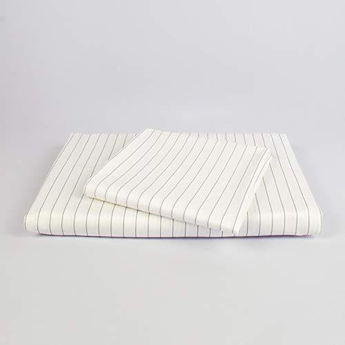 cloudlinen Bettwäsche Set aus 100% Extra-Langstapeliger Premium Baumwolle - 155x220 cm (Bettbezug) + 80x80 cm (Kissen) - weiß/grau gestreift - kuscheliger, Warmer, weicher Satin für besten Schlaf