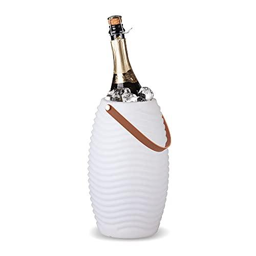 BluMill Cantinetta per vino con illuminazione integrata, lampada e altoparlante, design scanalato