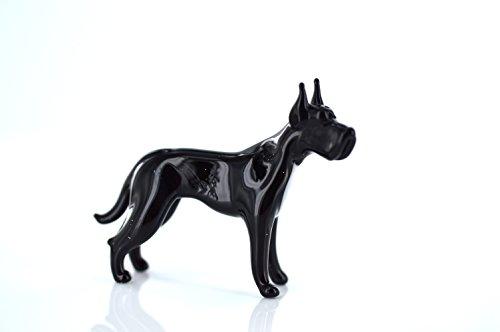 Unbekannt Hund Schwarz - Figur aus Glas Schwarze Deutsche Dogge stehend- b8-9-23 - Glasfigur Glastier Deko Setzkasten Vitrine schwarzer Rassehund