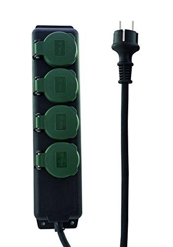 REV 0512468555 Steckerleiste, Gartensteckdose 4fach, 1,4m max. 3500W, schwarz