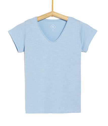 TEX - Camiseta Manga Corta Lisa para Mujer
