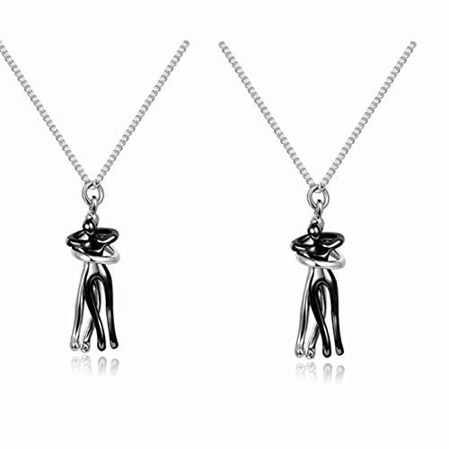 Couple Hugging Pendant Necklace, Love Style Lovers Hug Together Necklace, Fashion Exquisite Gold Necklaces for Women and Men 2PCS Silver+Silver