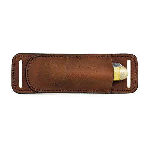 Gentlestache Leather Knife Sheaths for Belt, Knife Holster, Pocket Knife Sheath, EDC Leather Sheath for Folding Knife Carrier Brown