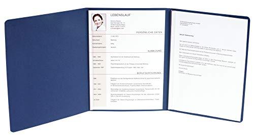 Exacompta 49702B Bewerbungsmappe (vertikale Prägung, 3-teilig mit 2 Klemmschienen Kapazität, 30 Blatt, aus Manila-Leinen-Karton, 400 g, Nature Future, DIN A4) blau