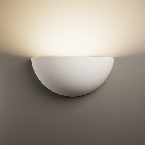 LightHUB Gips Wandleuchte Gipsleuchte modernes wandlampen wandleuchte bemalt dekoration (fertig für LED) weiß - für schlafzimmer, küchen, büro, Badezimmer, flurbeleuchtung, flur licht, wohnzimmer …