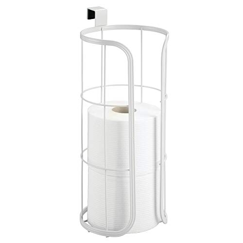 mDesign Modern Over The Tank Hanging Toilet Tissue Paper Roll Holder and Reserve for Bathroom Storage - Stores 3 Extra Rolls, Holds Jumbo-Sized Rolls - Durable Metal Wire - White