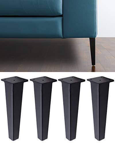 IPEA 4 x Patas para sofás y Muebles Modelo NEUTRONE – Juego de 4 Patas de Hierro Diseño Moderno y Elegante Color Negro Mate, Altura 195 mm