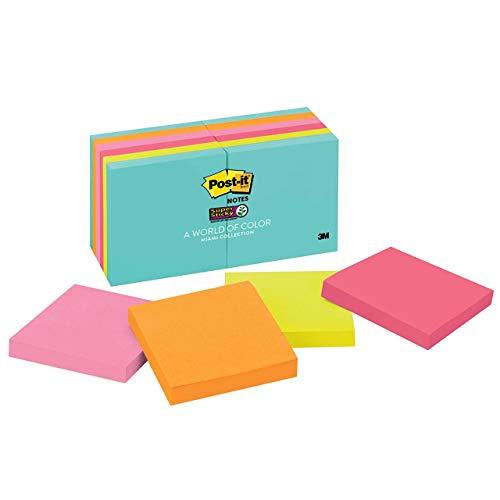 Post-it Super Sticky Notes, 7,6 x 7,6 cm, 12 blocos, 2X The Sticking Power, Coleção Miami, Cores neon (laranja, rosa, azul, verde), reciclável (654-12SSMIA)