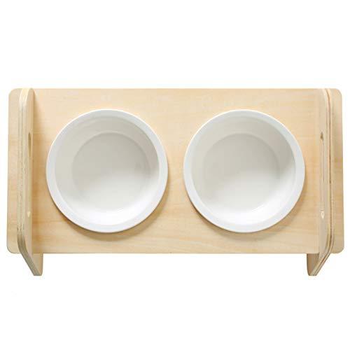 Hothotgirl 1 Stück Katze Napf-Set, Anti-Rutsch Katzennäpfe Keramik Set mit Linde Ständer Haustier-Zufuhr Linde Doppel Schüssel für Hund Katze (Double Round Bowls)