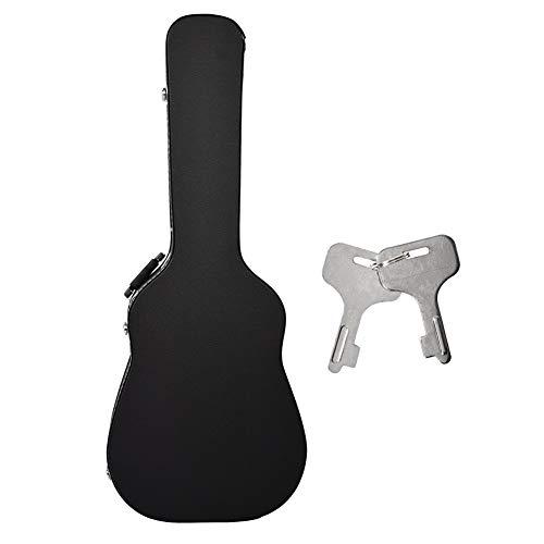 Alomejor Gitarrenkoffer 41in Akustische Gitarren Tasche Kurzer Samtfutter Hochwertig Gitarre Harter Fall mit Tastensperre Schwarz für Akustikgitarren