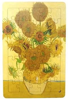 木製パズル ジグソーパズル パズル 木製パズル 8タイプ 35ピーズ 名画 絵画 風景 イラスト 静物 ゴッホ クリムト 脳トレ 木製 認知症予防 おもちゃ ひまわり 花 (【1】ひまわり)