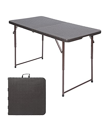 Folding Camping Picnic Table 4 Feet Adjustable Portable Dining Camping Party Field Kitchen BBQ Table with Carrying Handle Garden Outdoor - Brown