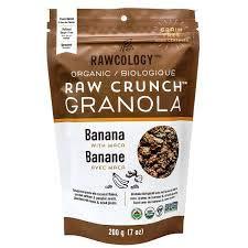 Rawcology - Granola Croquant Banane Maca 100% organique keto   Sans sucres ajoutés, sans gluten, Paleo   200g