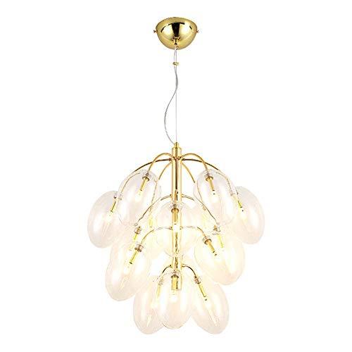 HXCD Lámpara de araña nórdica de Vidrio Transparente con Forma de Globo, 15 Luces, con Ramas de Bolas de Vidrio, lámpara Colgante de Altura Ajustable G4, lámpara de Techo de decoración Moderna pa