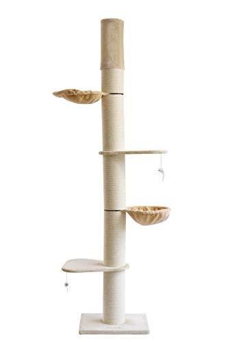 Clamaro 'Athen' XXL Katzenbaum deckenhoch höhenverstellbar (beige), Katzen Kratzbaum extra groß mit Ø 20 cm Sisal Säulen, 2 Liegeplätzen und 2 Liegemulden - Maße (B/T/H): 50 x 60 x 240-275 cm