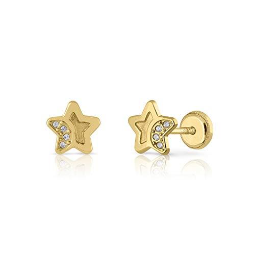 Pendientes oro bebe niña mujer en oro 18k, aretes modelo estrella con circones engastados y cierre de rosca