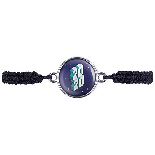 Mylery Armband mit Motiv Silvester 2020 Silber 16mm