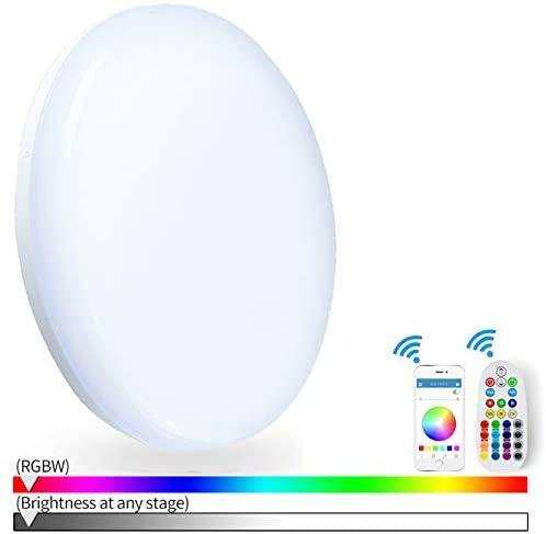 Nicetai RGBWW - Plafón LED de 24 W con wifi, 2700 – 6500 K, cambia de color, mando a distancia, funciona con Tuya, Alexa Google, impermeable IP54 para el salón de la habitación (300 mmWiFi)