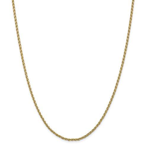 Diamond2deal 14K giallo oro 2mm di grano parigino catena collana 45,7cm