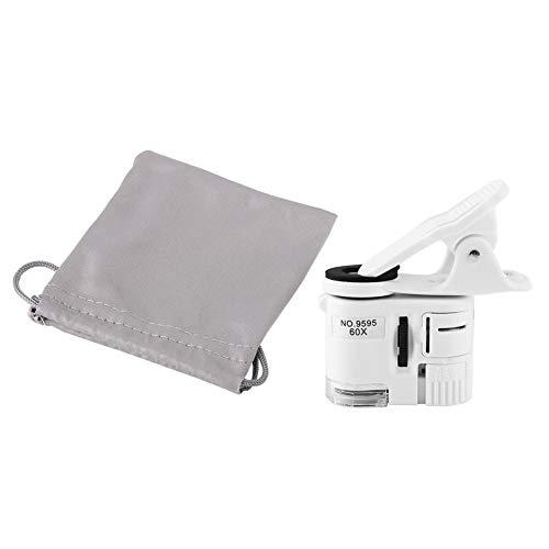 Mini Mikroskop, 9595W 60X Lupe LED UV Licht Mini Handy Clip Mikroskop, 2 Lampe Perle Universal Handy Clip Lupe Juwelier Vergroesserungsglas Einstellbare Lupe