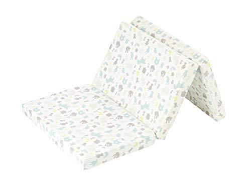 Alvi Matratze Baby Reisebett 60x120cm | Faltmatratze mit Tragetasche | Klappmatratze 6 cm dick | Baumwollbezug abnehmbar, atmungsaktiv, waschbar, schadstoffgeprüft, Design:Farm bunt