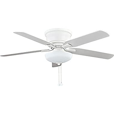 Hampton Bay 52 in. Holly Springs Low Profile LED Matte White Ceiling Fan