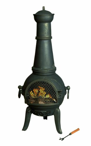 Premier BH111108 44 x 124cm Chiminea Burner with Cooking Grill - Antique Gold