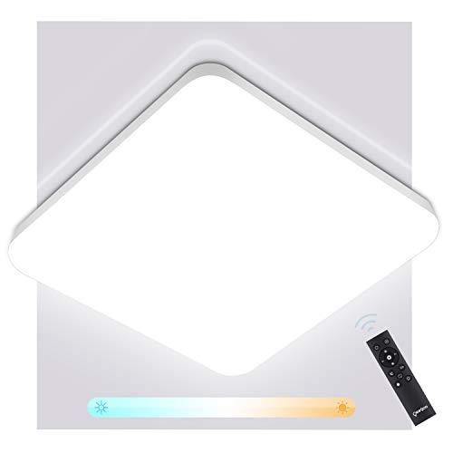 Oeegoo 36W Plafoniera LED Dimmerabile, 3600LM IP54 Impermeabile Lampada soffitto per Cucina Corridoio Soggiorno Camera da Letto, Regolazione della Temperatura di Colore con Telecomando