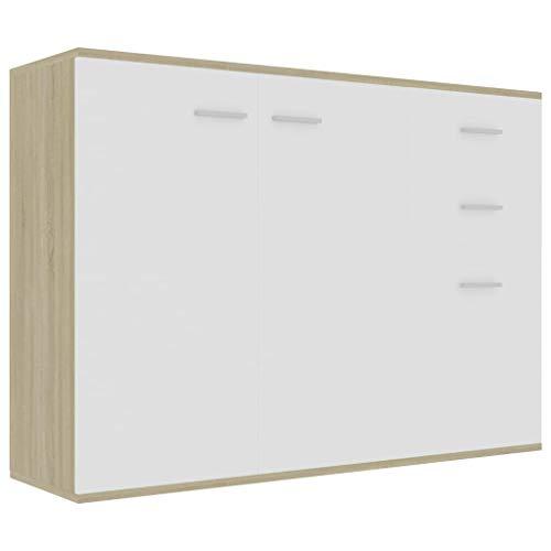 pedkit Aparador de Aglomerado Aparador Moderna Aparador para Salón Dormitorio Cocina Blanco y Roble Sonoma 105x30x75 cm