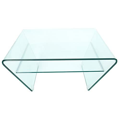 Invicta Interior Moderner Glas Couchtisch FANTOME 70cm Trapez mit Ablage transparent Glastisch Wohnzimmertisch Tisch