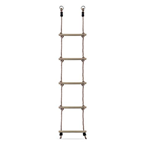 HIKS® Kids Rope Ladder with wooden Rungs ideal for Climbing Frame, Tree...