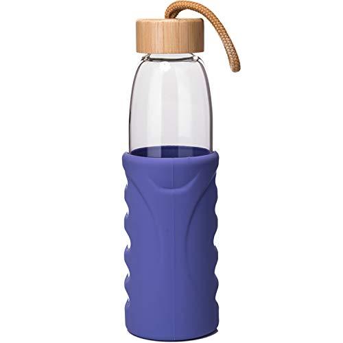 SHBRIFA Botella de Agua de Vidrio de Borosilicato 1000ml 1500ml 1000ml Gris Botella de Agua de Cristal con Funda de Neopreno y Tapa de Acero Inoxidable a Prueba de Fugas