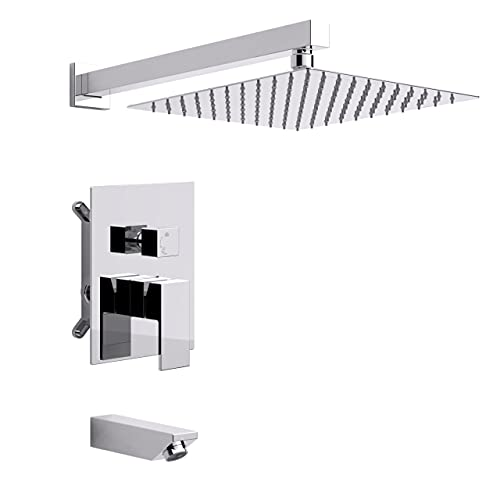 12in Chrome Shower System with Tub Spout Bathroom Luxury Rain Shower Faucet Set Wall Mounted Rainfall Shower Kit Combo, Complete Shower Head Bathtub System and Shower Trim Kit with Rough-in Valve
