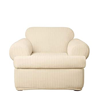SureFit Home Décor Stretch Pinstripe T-Cushion Chair Cover Form Fit Polyester/Spandex Machine Washable Two Piece Cream Color