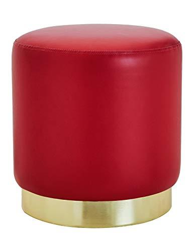 Reposapiés Redondo de Piel Sintética Taburete Tocador Baúl Puff Otomana Elegante Asiento Moderno Cuero Sintético Tapizados de Esponja Base de Metal Dorato para Salón y Dormitorio Pasillo Rojo