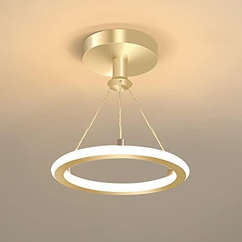 Lámpara de techo LED para pasillo Luz De Techo moderna regulable Lámpara colgante Creativity Ring Hallways Plafon de techo de metal 19W para pasillos hall entrada escalera Pasillo Balcón salón 20CM